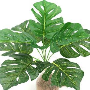 9 Feuille Simulation Turtle Back Green Leaf caoutchoutée Tortue Bamboo Simulation mur matériel végétal Fleurs Décoration d'intérieur