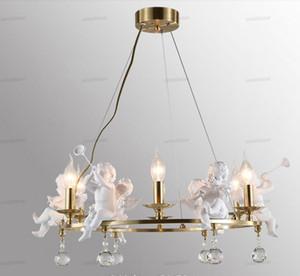 Children's Room Bedroom Chandeliers Lighting Nordic Original Designer Angel Art Hanglamp LED Crystal Candle Light Fixture