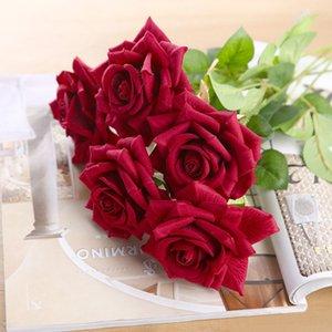 CHENCHENG 11 шт / Lot Silk Поддельный Black Red Rose Branch Искусственные цветы для украшения Главная партии Свадебный подарок Fall Decor