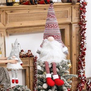 Árbol de Navidad Gnome Topper sueco Tomte Adornos de Santa Gnome Gnomos felpa escandinava Decoración de Navidad Casa DHE1250