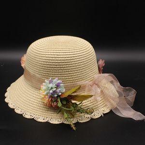 2020 nova Moda Verão Chapéus de Sol Para Mulheres Flor Floral Mer Beirais Chapéu de Palha Meninas Flat Top Palha Curta