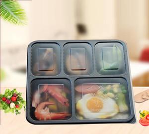 Tronsable1000ML 1500ML صناديق عشاء البلاستيك 5-مقصورة الغذاء الغداء تخزين هولودر 2 الألوان اخراج مربع المائدة 200 مجموعات / الكثير