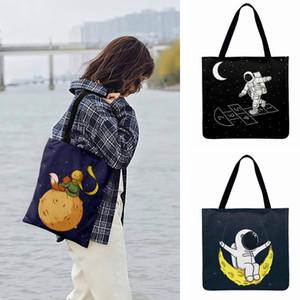 Ilustração Olá Lua dos desenhos animados impresso sacola For Women Casual Tote linho Febric saco de compras ao ar livre Beach Bags Moda Bolsas