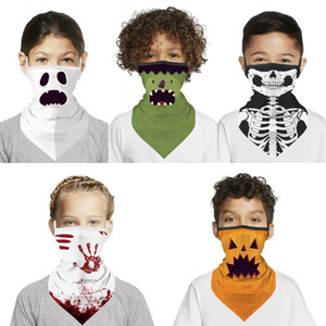 Faire du vélo en plein air face Bandana Cartoon Triangle Neck Gaiter oreille Hoop Masque de protection pour enfants Halloween écharpe magique hiver chaud DHF1585
