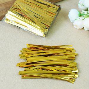 1500pcs lot Gold Wire Metallic Twist Ties For Cello Candy Bag Steel Baking Packaging Ligation Lollipop Dessert Sealing Twist Tie