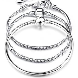 17-21cm enlace de cadena de serpientes plateadas enlace de serpiente de alta calidad en forma de pulsera de encanto europeo para mujeres que hace la joyería de bricolaje