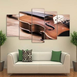 Wall Art Canvas HD Prints Pictures 5 Pieces Violin Paintings Classical Music Instrument Posters Modular Living Room Decor