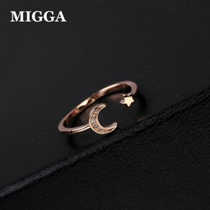 Cluster Rings MIGGA Rose White Gold Color Mini Star Cute Moon Open Ring For Women Cubic Zirconia Crystal Bague Jewelry