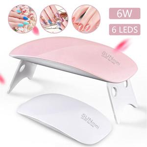 6W LED Mini Nail Dryers USB Plug 6 UV LED Lamps Quick Fast Dry Nail Tools For Gel Nail Polish Portable Pink White