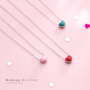 Modian Real 925 Sterling Silver Red Pink Green Enamel Hearts Pendant Necklace for Women Statement Fine Silver Jewelry Collar