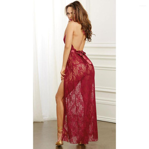 Deep V-neck See Through Sleepwear Women Lace Sexy Sleep Pajamas Robes Night Clothing Briefs