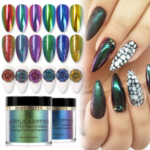 BORN PRETTY Chameleonic Dipping Nail Power 10ML 4 IN 1 Mirror Nail Glitter Power Carving Extension Dip Powder Decoration
