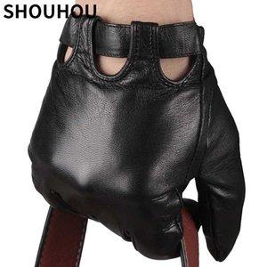 SHOUHOU 2020 Men Winter Gloves Genuine Sheepskin Leather Gloves Male Touch Screen Fashion Driving Mittens