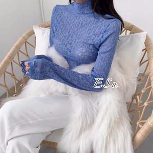 Кружева высокий воротник кружева подклада верхней одежды женская осень зима новой корейской версии темперамент непроницаемого длинным рукавом выдалбливают верхней одежды верхней