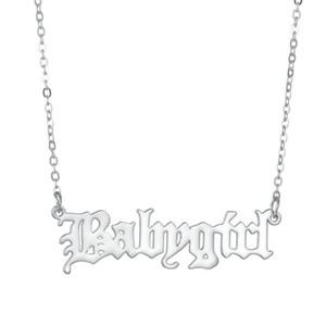 Baby girl Letter Pendant Necklace Gold Silver Colors Alloy Simple Clavicle Chain Necklaces for Women Fashion Jewellery