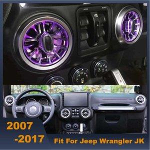 Автомобиль Турбина Выпускные светодиодные фонари Передние Кондиционер Vent Впускные центральная консоль Окружающие огни для Wrangler JK 2007-2020