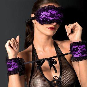Эротические костюмы Lace Sm Бандаж Roleplay бдсм Секс игрушки для взрослых глаз Сопроводительного сна Рабыни Игры Инструменты Женщина Фетиш завязанные глаза