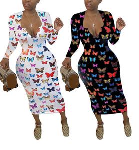 Femmes Designer Robe moulante à manches longues sexy col en V Robe imprimé papillons Printemps Automne Vestidos Robe crayon
