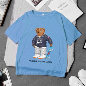 100٪ المرأة القطن مصمم الفاخرة لعبة البولو t قميص قصير الأكمام عارضة فضفاضة مضحك بارد تي شيرت مع الولايات المتحدة الأمريكية الدب نمط الطباعة DYDHGWC201