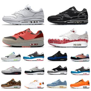 Nike air max 1 shoes  de Tóquio 1 Tartan Atmos Trabalho Azul 1s homens mulheres Tênis de Corrida 87 s OG Aniversário Parra Animal Pack mens formadores de Esportes Tênis 36-45