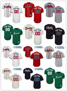 costumbre dejar la nave libre de cualquier número nombre de AtlantaBravos de Deportes jerseys del béisbol de los hombres de las mujeres jóvenes rojo blanco Jersey de alta calidad
