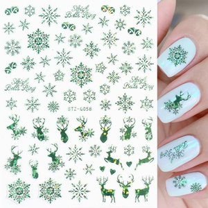 Christmas Nail Stickers Self Adhesive Green Sparkly Sticker 3D Snowflake Slider Gift Nails Foil Wraps Manicure Tips