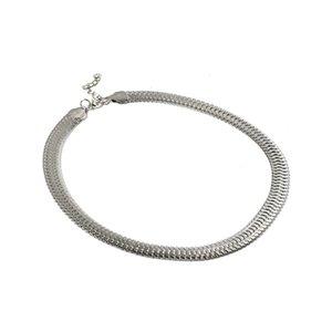 Erkekler Kadınlar İçin 1pc 42cm Uzun Gümüş Renk Düz Yılan Zincir kolye Takı