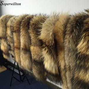 Novo 2020 Inverno 100% Raccoon Pele Real Natural Collar Womens Scarfs Moda Casaco Camisola Scarves Collar Luxo Pescoço Cap D88