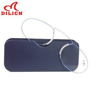 Nasenklammer auf Lesebrille Mini faltbare Kneifer Presbyopie Brille Metallrahmen Lupe SOS Wallet Reader mit Kasten 1.5