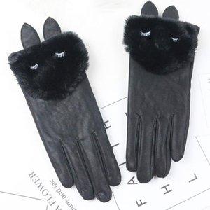 Decoración de invierno antideslizante Guantes de tela del manguito Soft Touch Windstopers Anti Slip de nuevo de las mujeres la protección de las manos Guantes