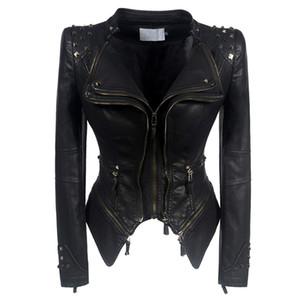 Las mujeres marea de la moda del estilo de la motocicleta chaqueta de cuero 2020 de la PU de otoño del resorte Mujer Prendas de abrigo abrigos FM019