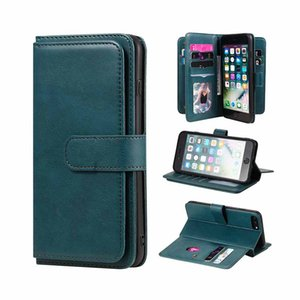 Béquille de luxe en cuir PU Porte-monnaie pour Apple iPhone 8 Plus 2017 7 Plus Card Flip Folio Slots Phone pour iPhone XS Max 11 8 7