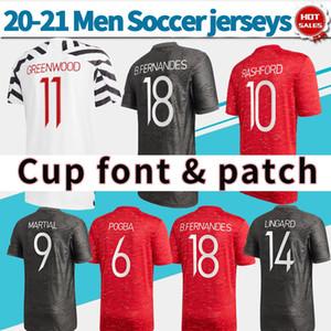 Copo Fonte 2021 Homem Utd Futebol Jersey Home Vermelho # 10 Rashford 20/21 Away Camisa de Futebol Preto # 18 B.fernandes Terceira ZeBB personalizada