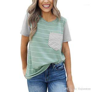 Short Sleeve Clothes Female Striped Printed Tops Fashion Designer Crew Neck Tshirt Summer Casual Women
