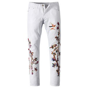White Bird Bordados Jeans Denim Calças de Nova Homens Moda bordado Slim Fit Pants Hetero Denim Trousers