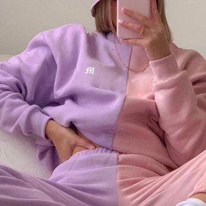 Femme Patchwork Rose pourpre ras du cou Sweat-shirt à manches longues Party Crop Tops Fashion style preppy Broderie Pull Automne Nouveau