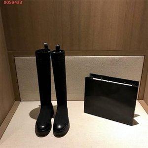 Женщина обувь Tight High Long загрузки Колено сапоги зимние сапоги обувь для девочек Мода Носок ботинки с оригинальной коробке 35-41