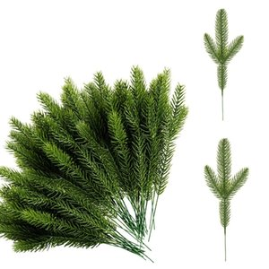 50Pcs Artificial Pine Needles Branches Green Plant for Diy Garland Wreath Christmas Embellishing and Home Garden Decor