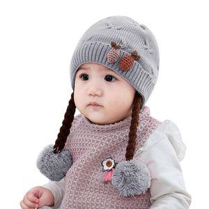 Autumn Baby Girl Boy Winter Hat Cute Kids Toddler Girls Baby Soft Braid Crochet Knit Hat Beanie Hairball Warm Cap New Arrival