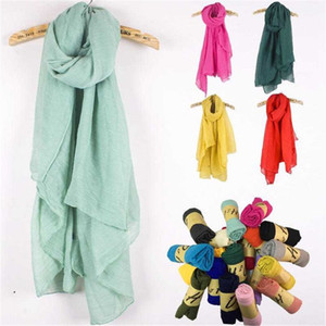 Нового Хлопок белье шарфа сплошного цвета Monochrome конфета шелк Femme шарф Женщины подарки Красивые шарфы