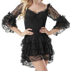 Siyah Katmanlı Çiçek Dantel Ruffles Yaylar Flare Kol Victoria Gotik Giydirme Vintage Elbiseler Kadınlar Artı boyutu Steampunk Giyim
