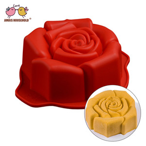 Amais Rose Silicone Mousse Pan Cake Mold Non-stick Baking Decoration Tools Silicone Forms Bakeware 3D Silicone Mold B