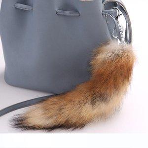 Cute Fluffy Bag Pendant Pompoms Real Fox Fur Tail Keychians Plush Pom Poms Women Gifts Keyrings Car KeyChain