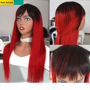 Highlight Red Ombre Human Hair Natural Wig Straight Malaysian Remy Braided Wigs With Bangs Colored 1B Red Glueless Front Wig With No Lace