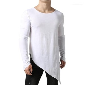 Autumn Tops Long Sleeved Breathable Teenagers Tops New Arrival Mens Irregular Tshirts Solid Color Mens