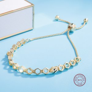 Beautiful Authentic 925 Sterling Silver gold color crystals chram Bracelet Bangle Fit Women Bead Charm DIY Pandora Jewelry can adjustable