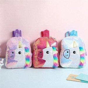 Color de rosa brillante con lentejuelas morral de la felpa del unicornio Diseño taleguilla Bookbag adorable linda de la manera niños del viaje del bolso de escuela para el estudiante 7TF0 Niño #