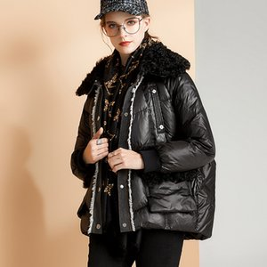 Janveny Gerçek Kürk Yaka 2020 Aşağı Ceket Kadın Kış Kısa Puffer Tüy Coat% 90 Beyaz Aşağı Parkas Kadın Kar OUTWEAR Ördek