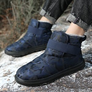 Men Boots Slip On Lightweight Winter Shoes For Men Snow Boots Waterproof Footwear With Fur Comfortable Shoes Plus Size 38-47