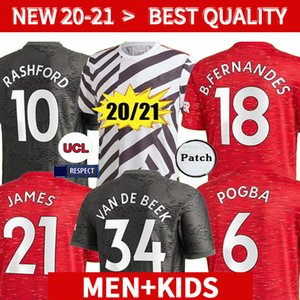 20 21 Player version FC manchester BRUNO FERNANDES maillot de foot 2020 2021 Pogba LINGARD kits de football shirtss Rashford football de mankids